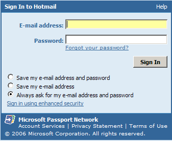 Hotmail signout button