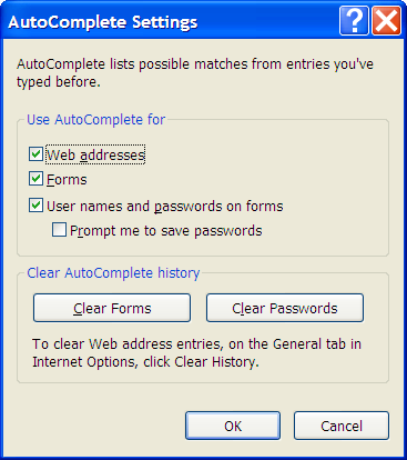 Internet Explorer Options, Auto Complete