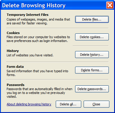 IE7 Delete Browsing History dialog