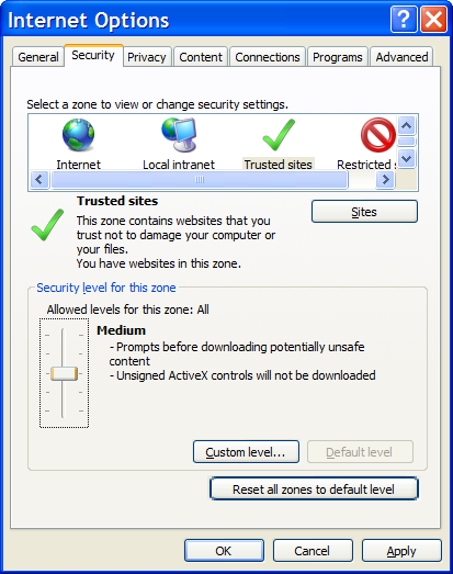 IE7 Security Tab