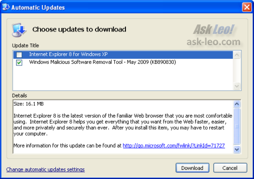 IE8 in the auto-update list of available updates