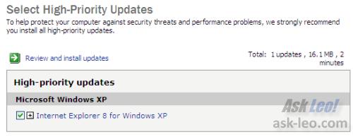 IE8 in Windows Update