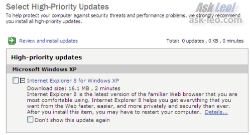 IE8 in Windows Update, Expanded