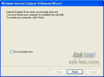 Windows Internet Explorer 8 Removal Wizard - Complete