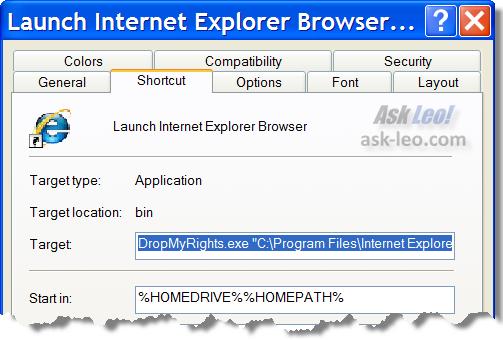 Shortcut to start Internet Explorer using DropMyRights