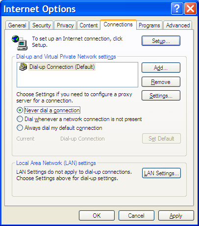 Internet Explorer Connections Configuration