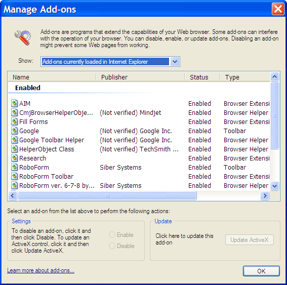 IE's Manage Add-On's Dialog