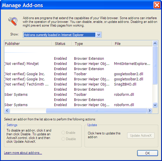 IE's Manage Add-On's Dialog Showing File Names