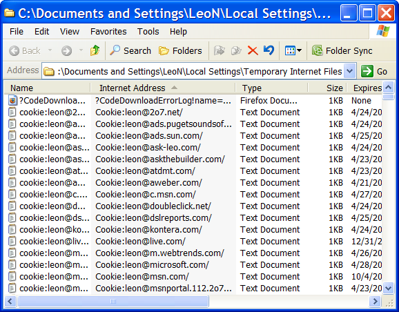 Internet Explorer's Temporary Internet Files - sorted and scrolled to Cookies