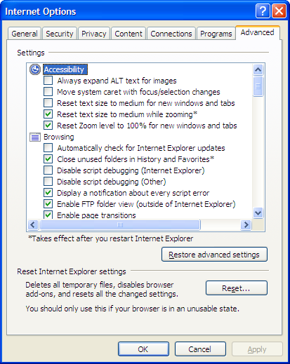 IE's Internet Options Advanced tab