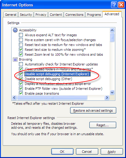IE's Internet Options Advanced tab - script debugging options