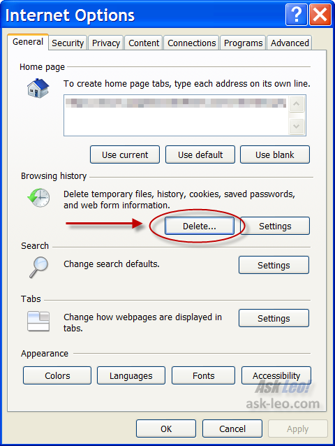 Internet Options, highlighting the Delete button in Browsing History