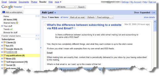 Ask Leo item from the RSS feed in Google Reader