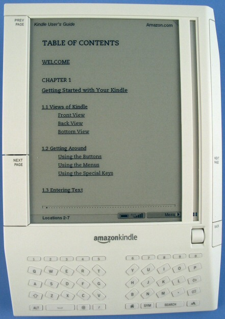 Kindle showing User's Guide Table of Contents