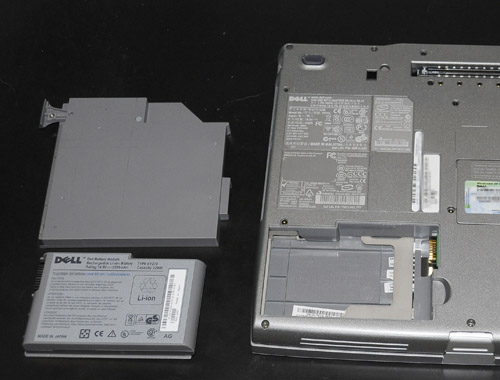 Laptop with batteries removed