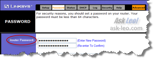 Password Dialog on LinkSys router