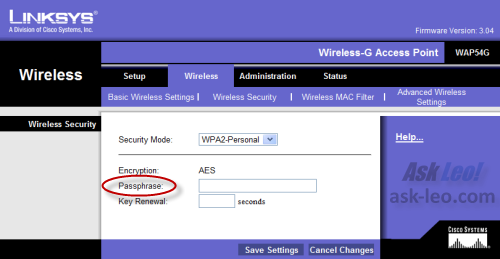 LinkSys Access Point encryption configuration