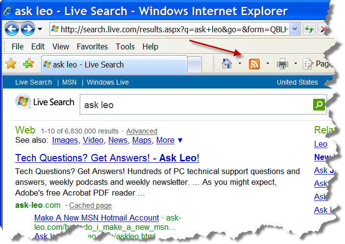 Microsoft Live Search results for ask leo