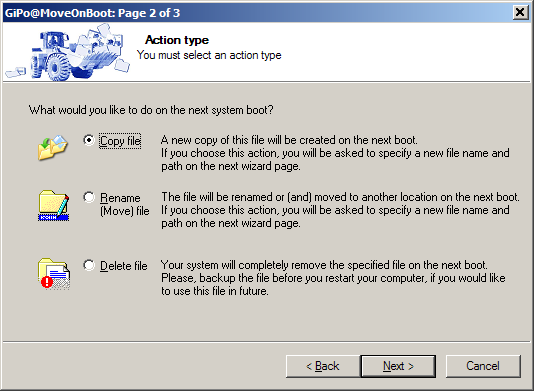MoveOnBoot - specify action