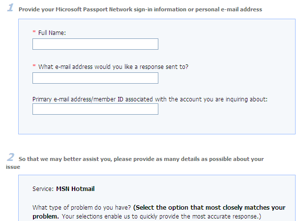 MSN Hotmail Support Form