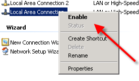 Enable Network Connection option