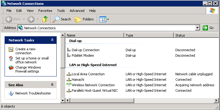 Network Connections Window