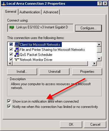 Network Connection Properties Dialog