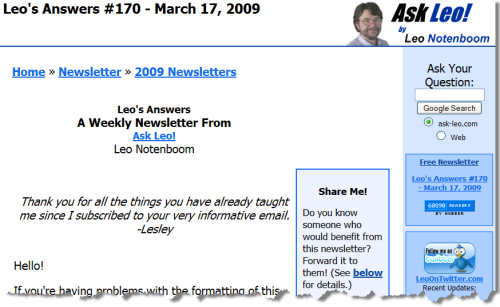 Leo's Answers Weekly Newsletter, on the site