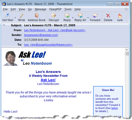 Ask Leo! Newsletter Example