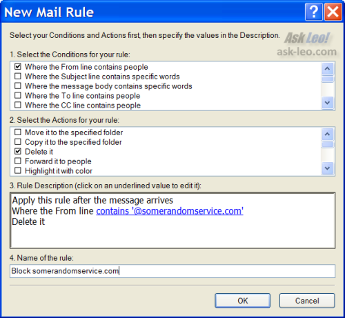 Filter to block email from a specific domain in Outlook Express
