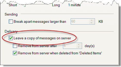 Leave a copy of messages on server option in Outlook Express