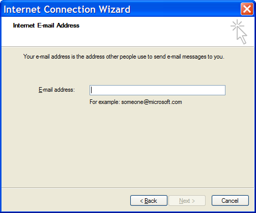 Outlook Express New Mail Account - Step 2: Your Email Address