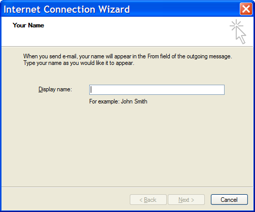 Outlook Express New Mail Account - Step 1: Your Name