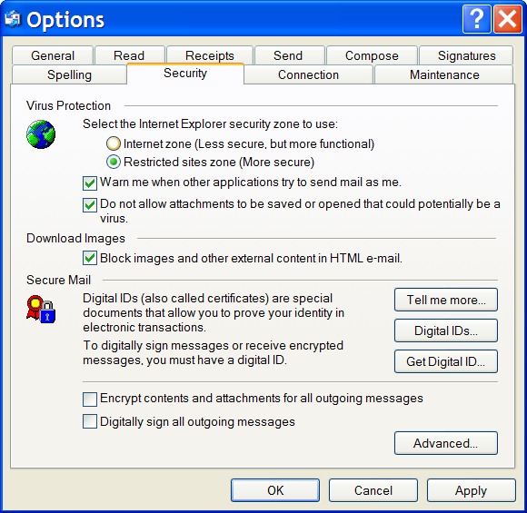 Outlook Express Options to block images