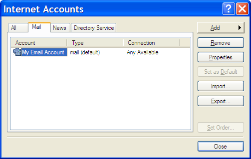 Outlook Express Accounts Dialog
