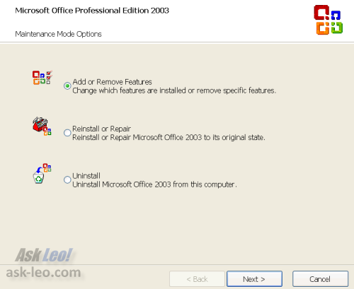 Office 2003's Add/Remove Change Options Dialog