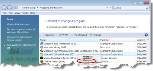 Microsoft Office in Vista's Add/Remove list