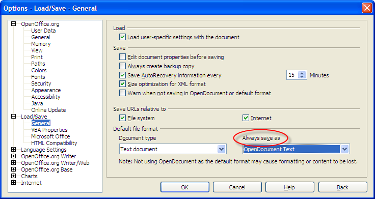 Open Office Writer Load/Save Options