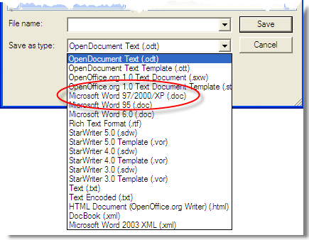 Open Office Writer's File-SaveAs Dialog with alternative formats