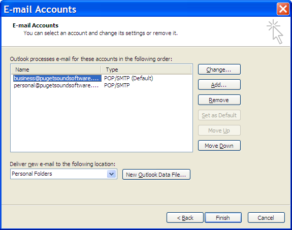 Business and personal accounts listed in Outlook