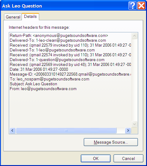 Outlook Express Dialog Box