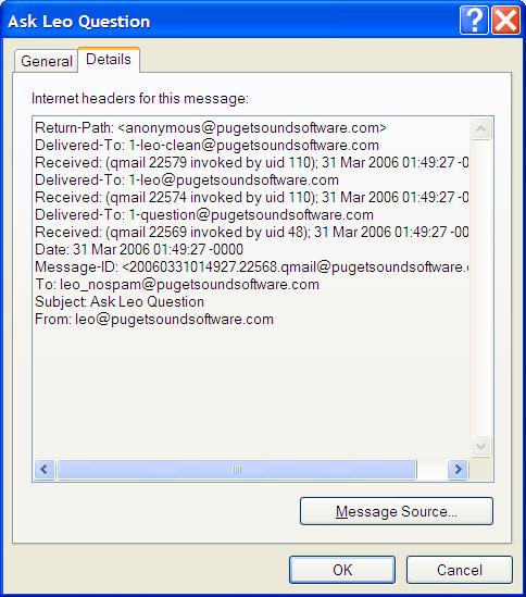 Outlook Express Dialog Box