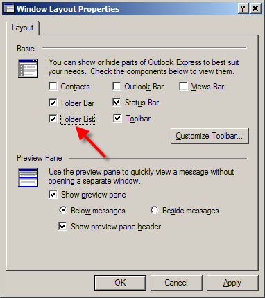 Outlook Express Layout Dialog