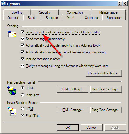Outlook Express Send Options Dialog