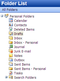 Outlook folder list with separate inbox and sent mail folders