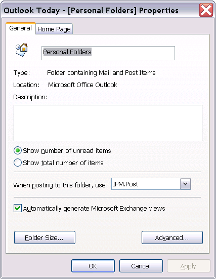 Outlook's Folder Properties Dialog
