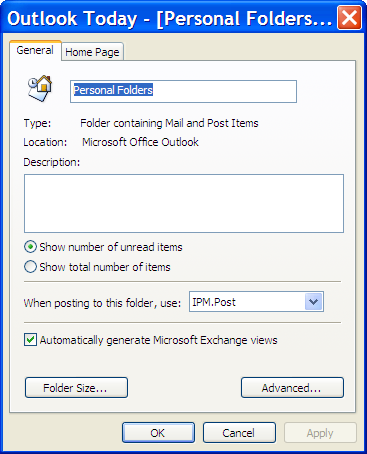 Outlook Personal Folders Properties dialog