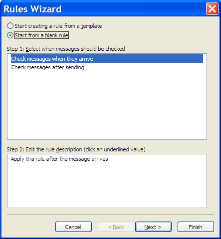 Outlook New Rule wizard - check messages when they arrive