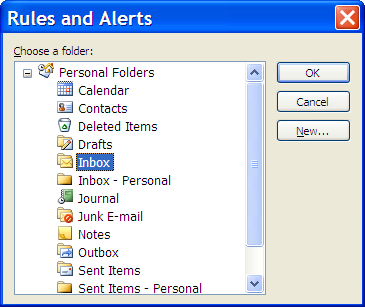 Outlook New Rule wizard - folder choice