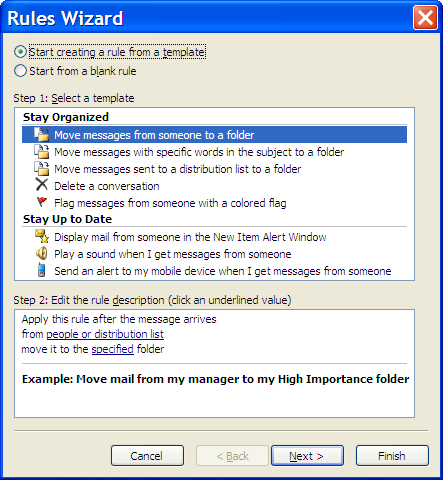 Outlook New Rule wizard start